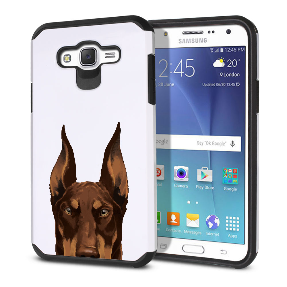 Hybrid Slim Fusion Red Chocolate Doberman Pinscher Dog Protector Cover Case for Samsung Galaxy J7 J700