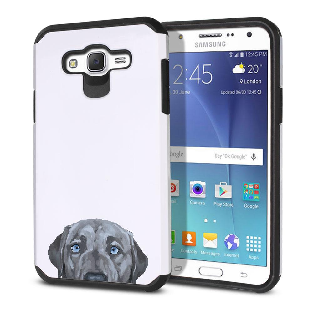 Hybrid Slim Fusion Silver Blue Labrador Retriever Dog Protector Cover Case for Samsung Galaxy J7 J700