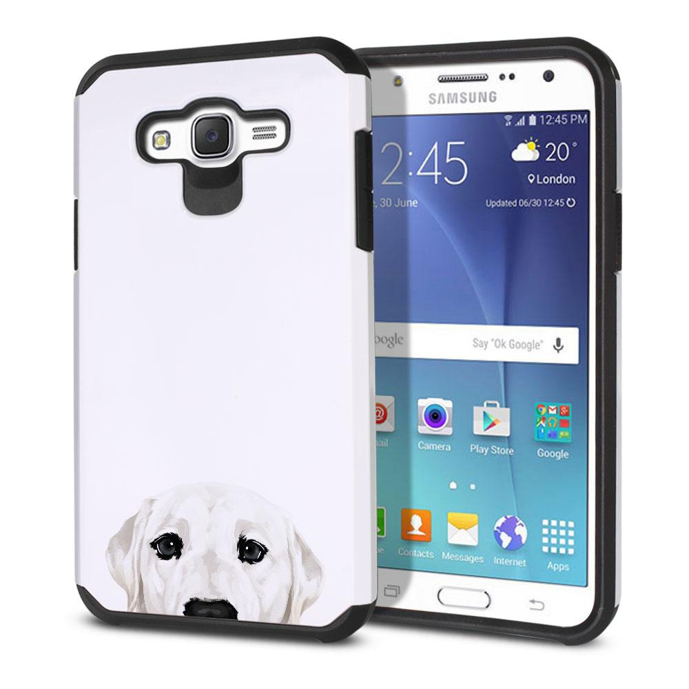 Hybrid Slim Fusion White Labrador Retriever Dog Protector Cover Case for Samsung Galaxy J7 J700