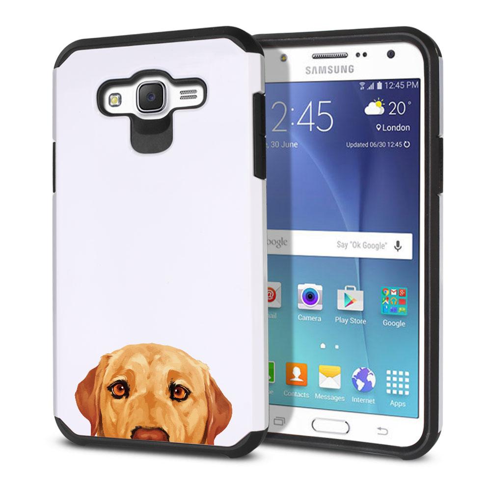 Hybrid Slim Fusion Yellow Labrador Retriever Dog Protector Cover Case for Samsung Galaxy J7 J700
