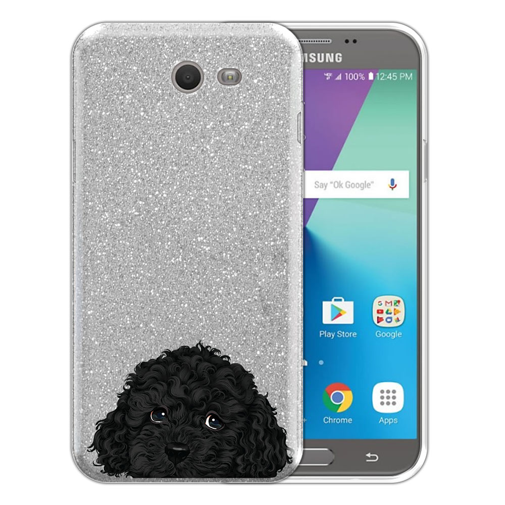 Hybrid Silver Glitter Clear Fusion Black Toy Poodle Protector Cover Case for Samsung Galaxy J7 2017/ J7V J727 Sky Pro 5.5 inch