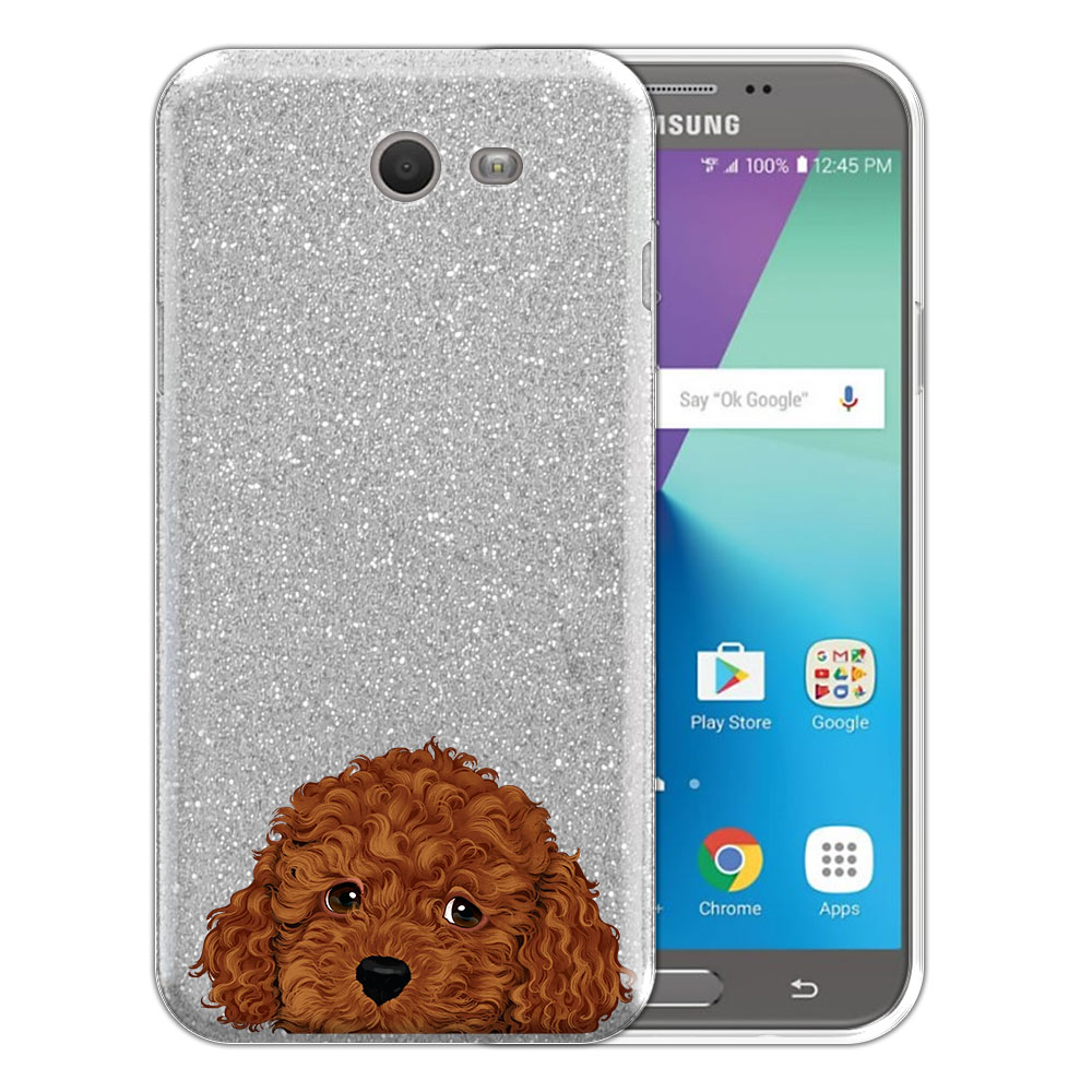 Hybrid Silver Glitter Clear Fusion Brown Toy Poodle Protector Cover Case for Samsung Galaxy J7 2017/ J7V J727 Sky Pro 5.5 inch