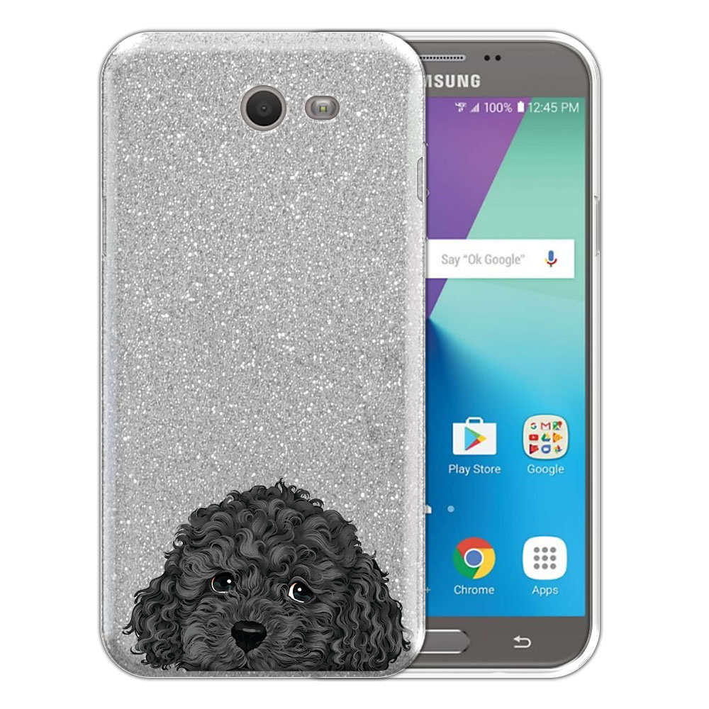 Hybrid Silver Glitter Clear Fusion Gray Toy Poodle Protector Cover Case for Samsung Galaxy J7 2017/ J7V J727 Sky Pro 5.5 inch