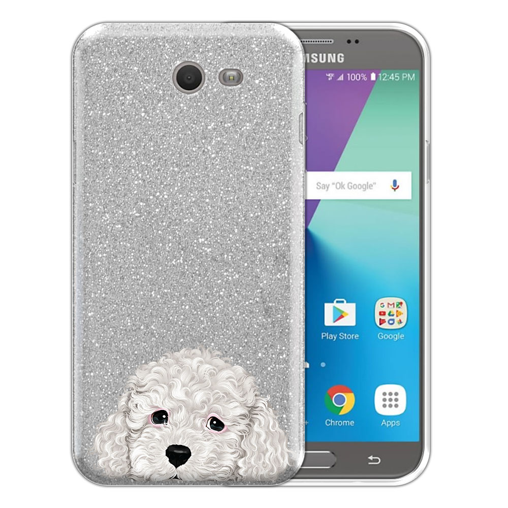 Hybrid Silver Glitter Clear Fusion White Toy Poodle Protector Cover Case for Samsung Galaxy J7 2017/ J7V J727 Sky Pro 5.5 inch