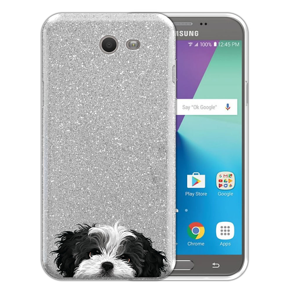 Hybrid Silver Glitter Clear Fusion Black White Shih Tzu Protector Cover Case for Samsung Galaxy J7 2017/ J7V J727 Sky Pro 5.5 inch