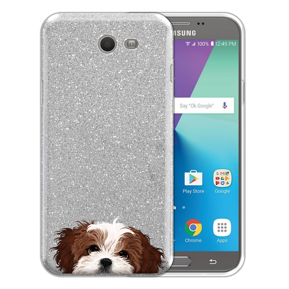 Hybrid Silver Glitter Clear Fusion Brown White Shih Tzu Protector Cover Case for Samsung Galaxy J7 2017/ J7V J727 Sky Pro 5.5 inch