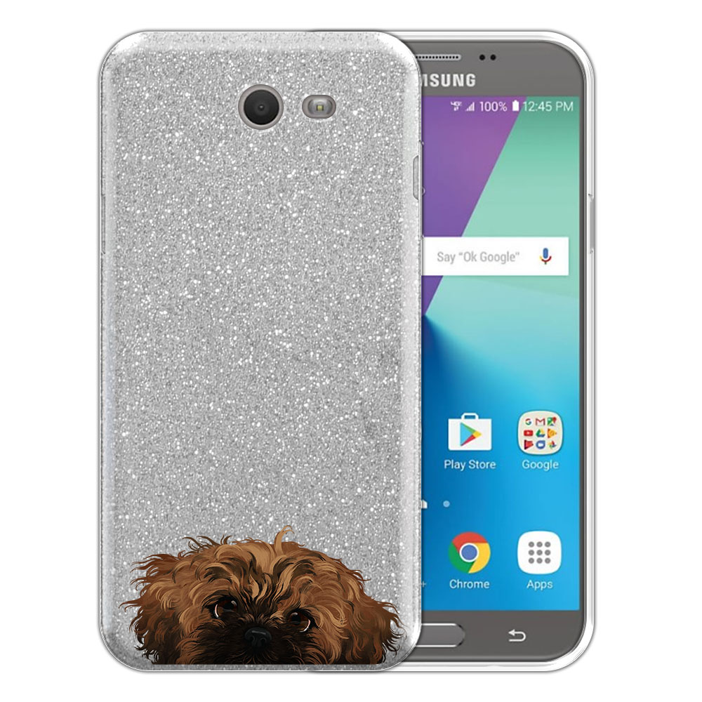 Hybrid Silver Glitter Clear Fusion Fawn Black Mask Shih Tzu Protector Cover Case for Samsung Galaxy J7 2017/ J7V J727 Sky Pro 5.5 inch