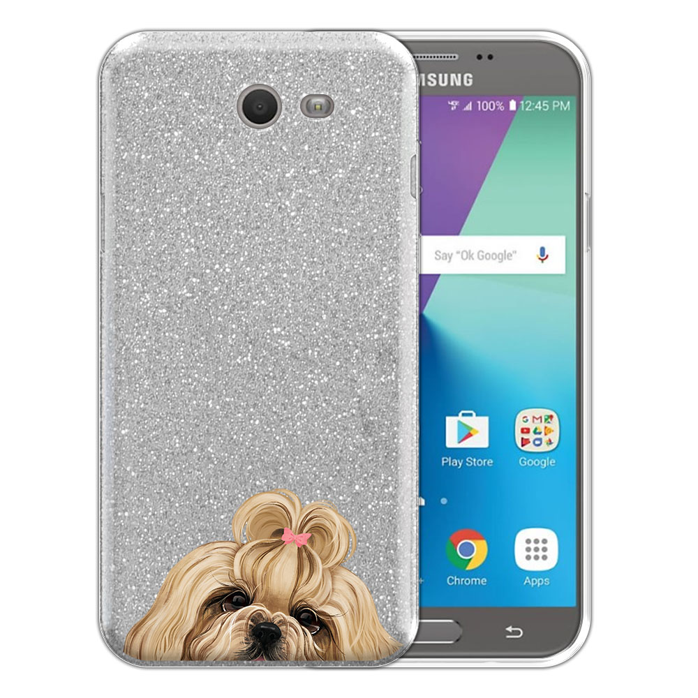 Hybrid Silver Glitter Clear Fusion Gold White Shih Tzu Protector Cover Case for Samsung Galaxy J7 2017/ J7V J727 Sky Pro 5.5 inch