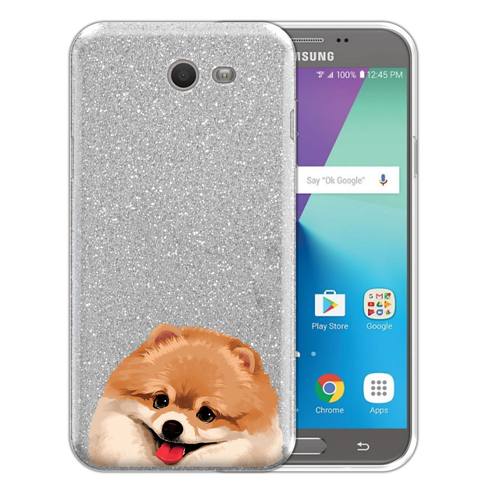 Hybrid Silver Glitter Clear Fusion Fawn Pomeranian Protector Cover Case for Samsung Galaxy J7 2017/ J7V J727 Sky Pro 5.5 inch