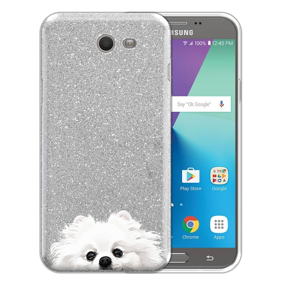 Hybrid Silver Glitter Clear Fusion White Teacup Pomeranian Protector Cover Case for Samsung Galaxy J7 2017/ J7V J727 Sky Pro 5.5 inch