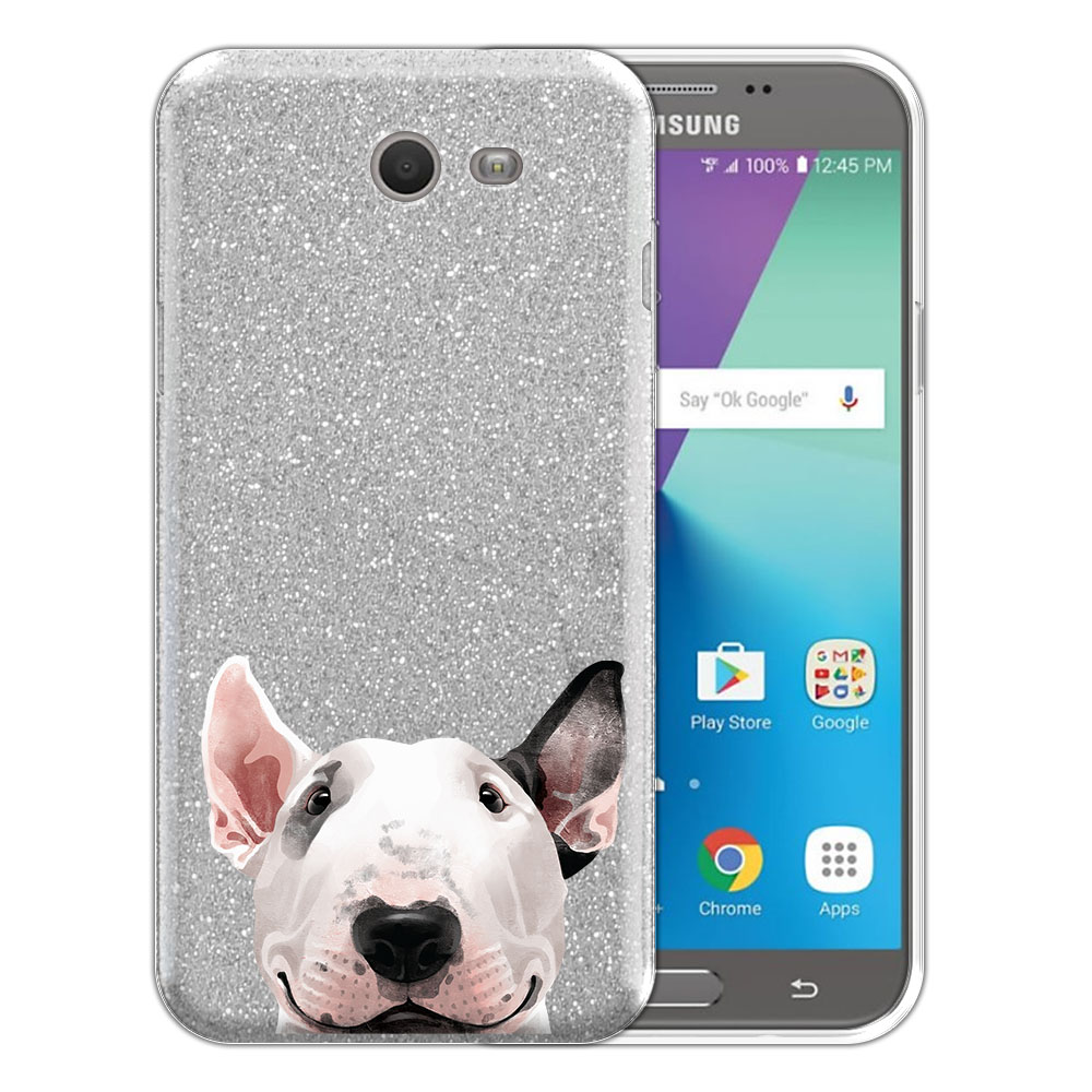 Hybrid Silver Glitter Clear Fusion Bull Terrier Protector Cover Case for Samsung Galaxy J7 2017/ J7V J727 Sky Pro 5.5 inch