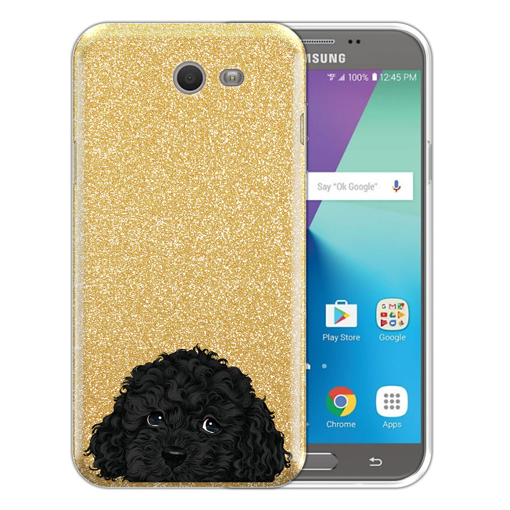 Hybrid Gold Glitter Clear Fusion Black Toy Poodle Protector Cover Case for Samsung Galaxy J7 2017/ J7V J727 Sky Pro 5.5 inch