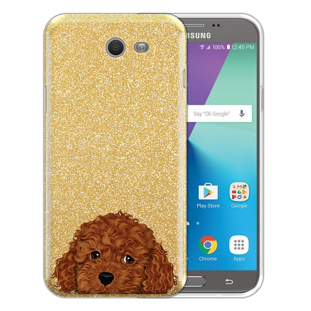 Hybrid Gold Glitter Clear Fusion Brown Toy Poodle Protector Cover Case for Samsung Galaxy J7 2017/ J7V J727 Sky Pro 5.5 inch