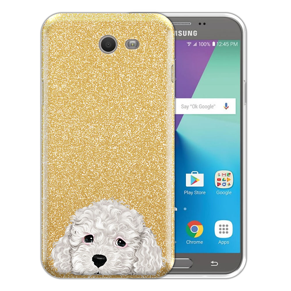 Hybrid Gold Glitter Clear Fusion White Toy Poodle Protector Cover Case for Samsung Galaxy J7 2017/ J7V J727 Sky Pro 5.5 inch