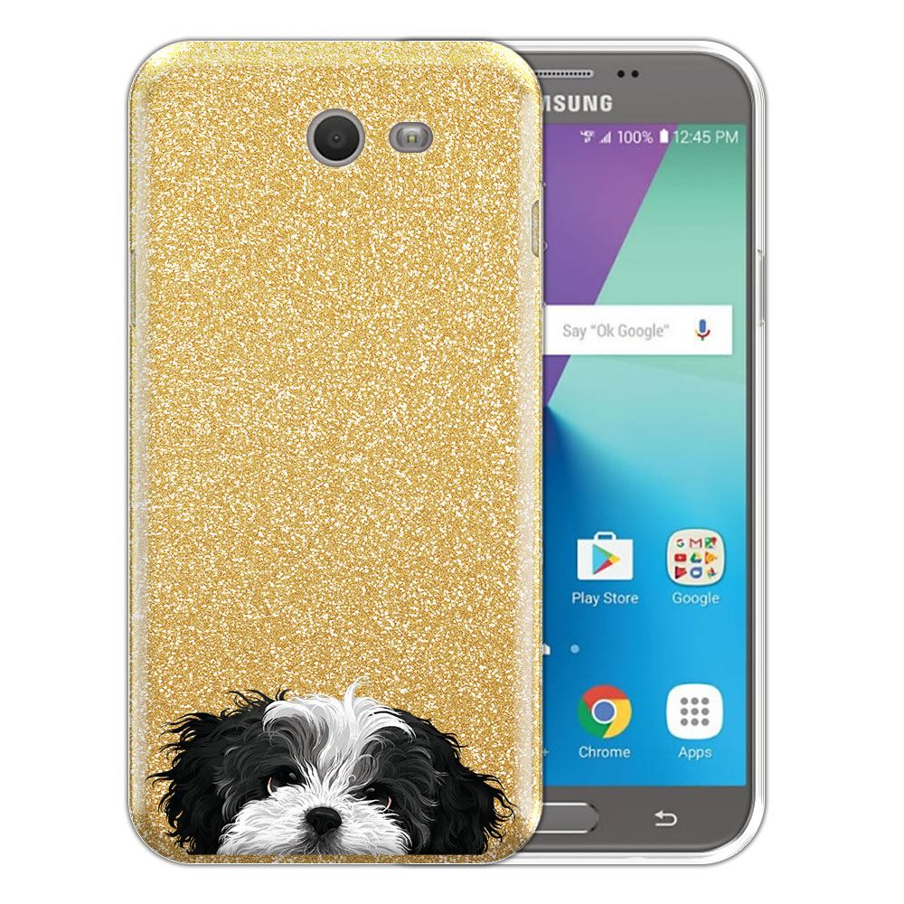 Hybrid Gold Glitter Clear Fusion Black White Shih Tzu Protector Cover Case for Samsung Galaxy J7 2017/ J7V J727 Sky Pro 5.5 inch