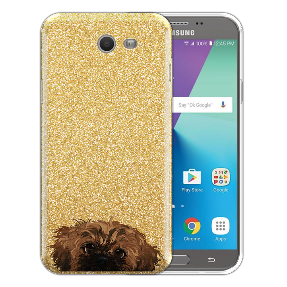 Hybrid Gold Glitter Clear Fusion Fawn Black Mask Shih Tzu Protector Cover Case for Samsung Galaxy J7 2017/ J7V J727 Sky Pro 5.5 inch