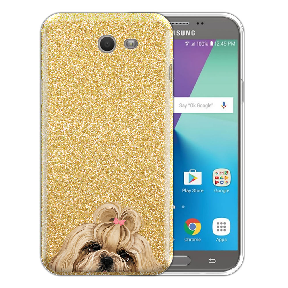 Hybrid Gold Glitter Clear Fusion Gold White Shih Tzu Protector Cover Case for Samsung Galaxy J7 2017/ J7V J727 Sky Pro 5.5 inch