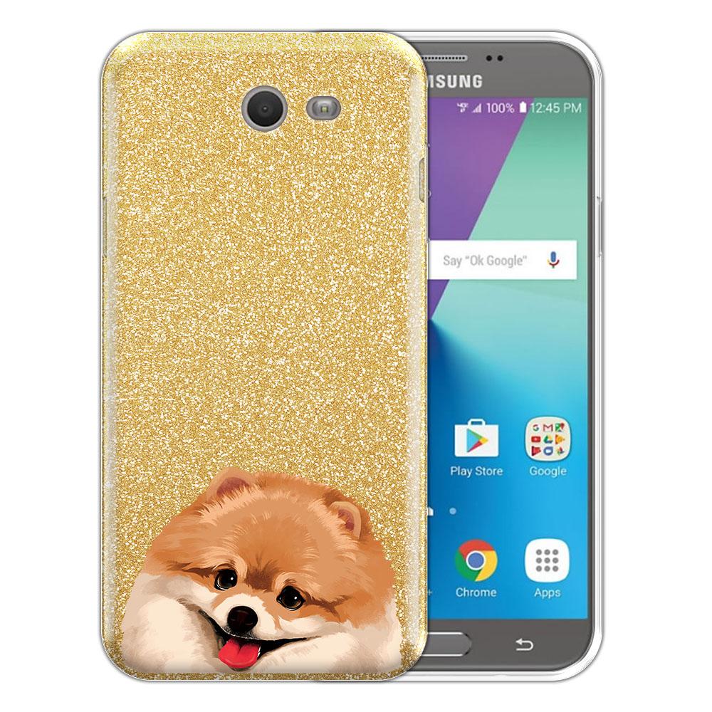 Hybrid Gold Glitter Clear Fusion Fawn Pomeranian Protector Cover Case for Samsung Galaxy J7 2017/ J7V J727 Sky Pro 5.5 inch
