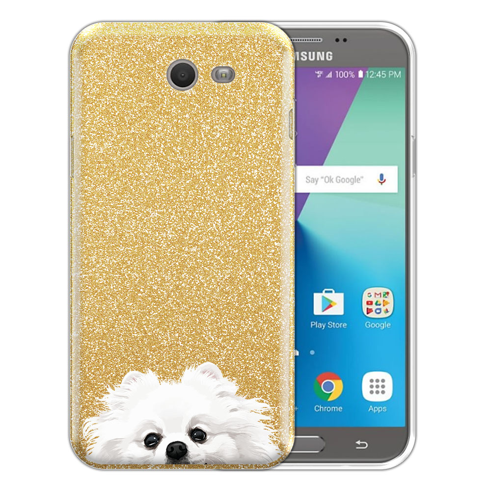 Hybrid Gold Glitter Clear Fusion White Teacup Pomeranian Protector Cover Case for Samsung Galaxy J7 2017/ J7V J727 Sky Pro 5.5 inch