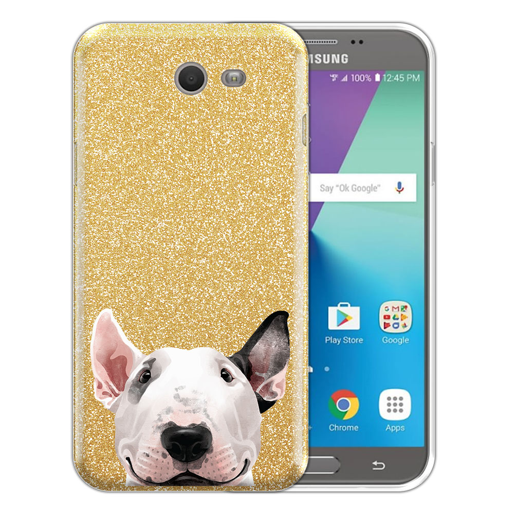 Hybrid Gold Glitter Clear Fusion Bull Terrier Protector Cover Case for Samsung Galaxy J7 2017/ J7V J727 Sky Pro 5.5 inch