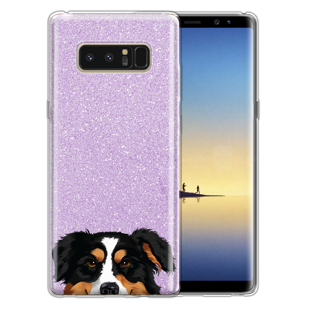Hybrid Purple Glitter Clear Fusion Black Tricolor Aussie Australian Shepherd Dog Protector Cover Case for Samsung Galaxy Note 8 Note8 N950 6.3