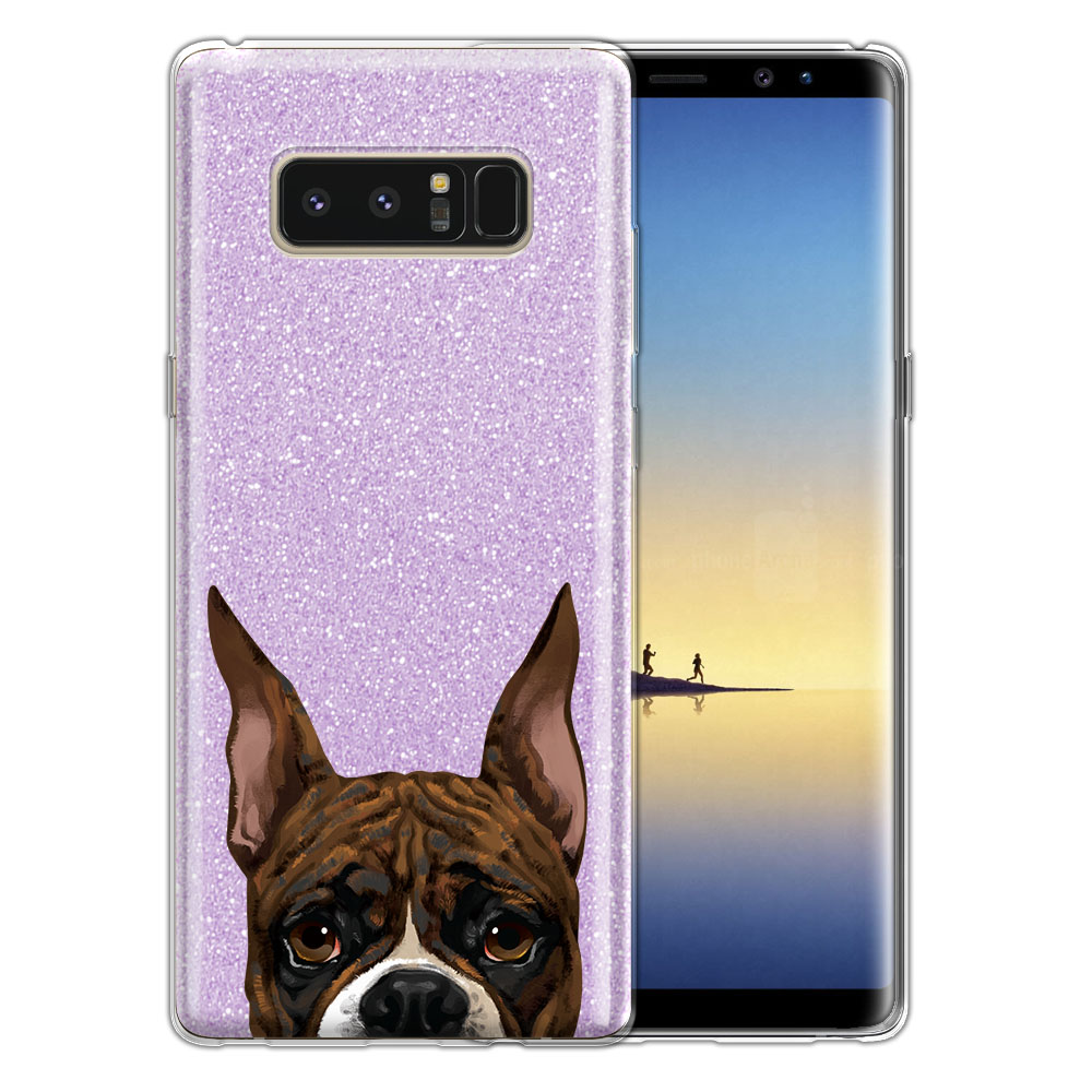 Hybrid Purple Glitter Clear Fusion Brindle Pattern Boxer Dog Protector Cover Case for Samsung Galaxy Note 8 Note8 N950 6.3
