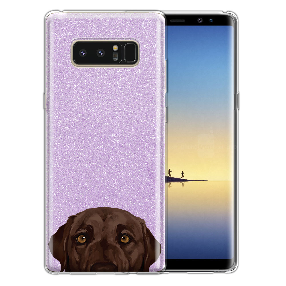 Hybrid Purple Glitter Clear Fusion Chocolate Brown Labrador Retriever Dog Protector Cover Case for Samsung Galaxy Note 8 Note8 N950 6.3