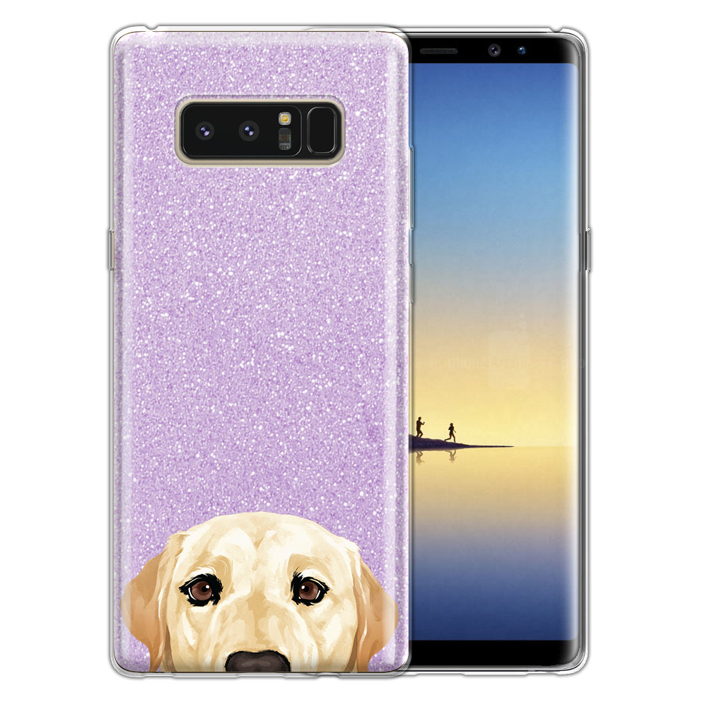 Hybrid Purple Glitter Clear Fusion Cream Labrador Retriever Dog Protector Cover Case for Samsung Galaxy Note 8 Note8 N950 6.3