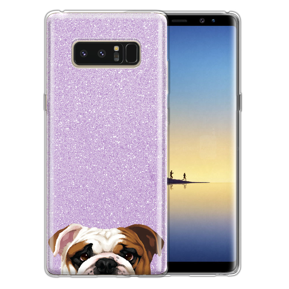 Hybrid Purple Glitter Clear Fusion English Bulldog Protector Cover Case for Samsung Galaxy Note 8 Note8 N950 6.3