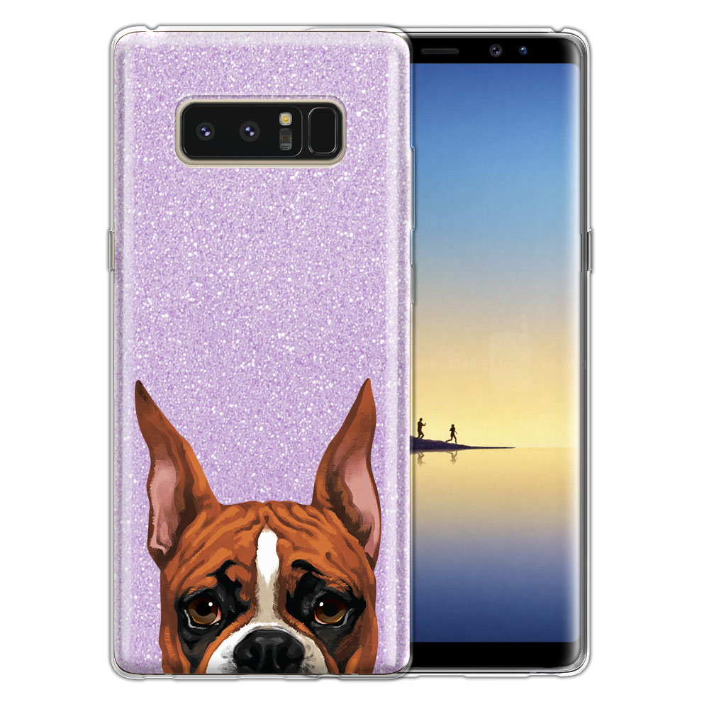 Hybrid Purple Glitter Clear Fusion Fawn Color Boxer Dog Protector Cover Case for Samsung Galaxy Note 8 Note8 N950 6.3