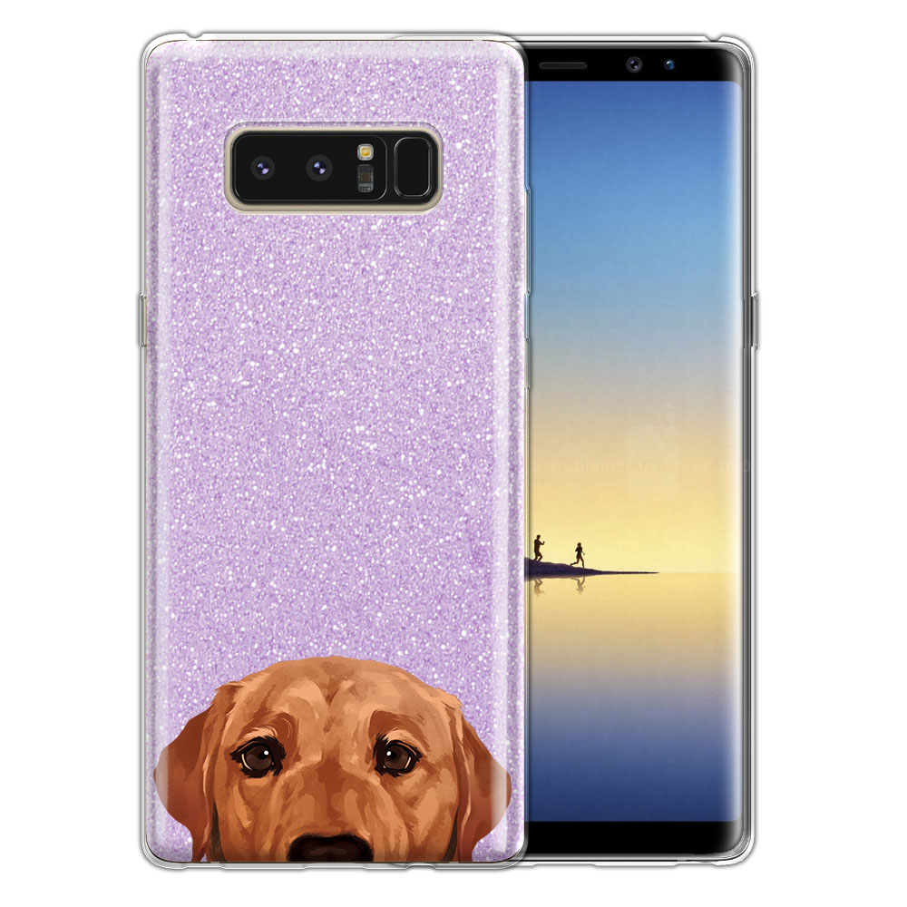 Hybrid Purple Glitter Clear Fusion Fox Red Labrador Retriever Dog Protector Cover Case for Samsung Galaxy Note 8 Note8 N950 6.3