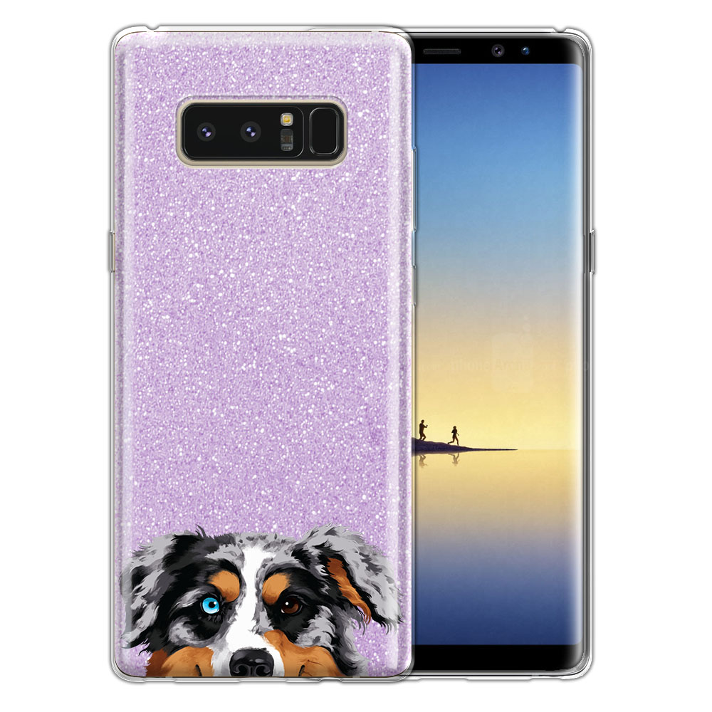 Hybrid Purple Glitter Clear Fusion Merle Aussie Australian Shepherd Dog Protector Cover Case for Samsung Galaxy Note 8 Note8 N950 6.3
