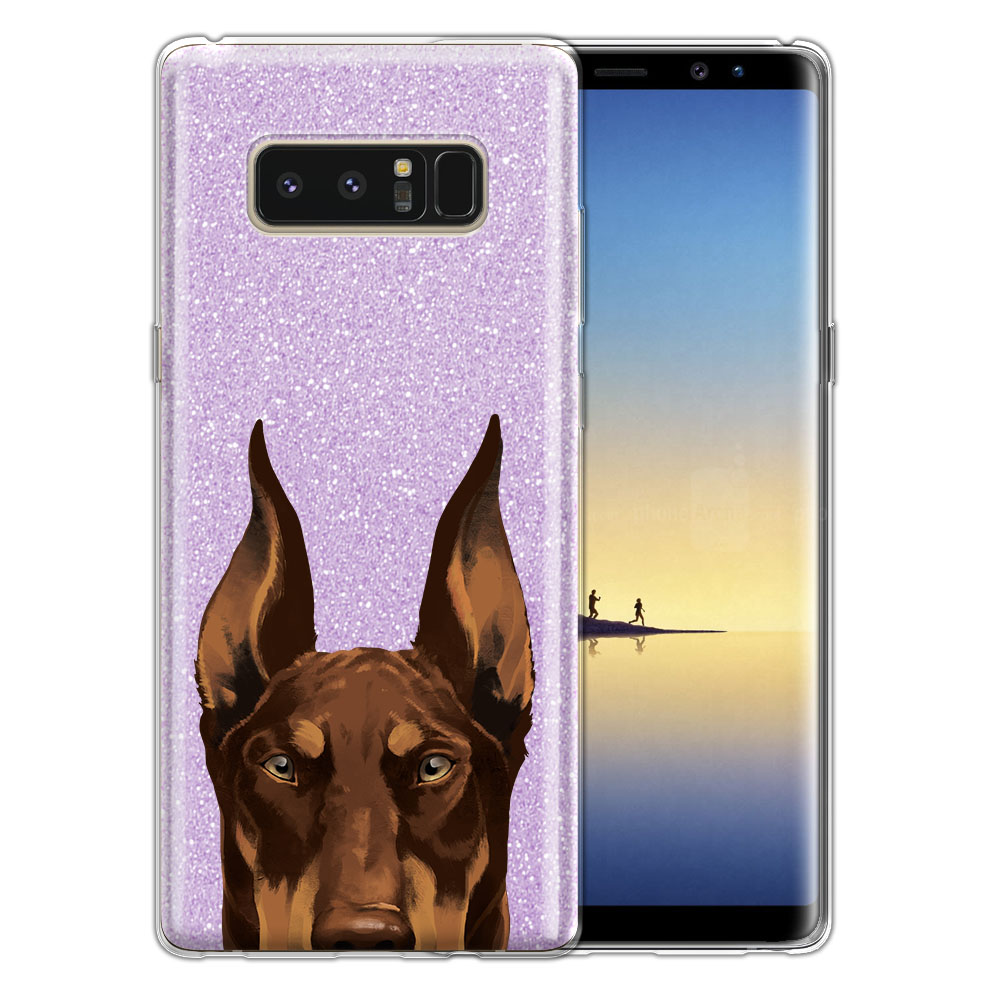 Hybrid Purple Glitter Clear Fusion Red Chocolate Doberman Pinscher Dog Protector Cover Case for Samsung Galaxy Note 8 Note8 N950 6.3