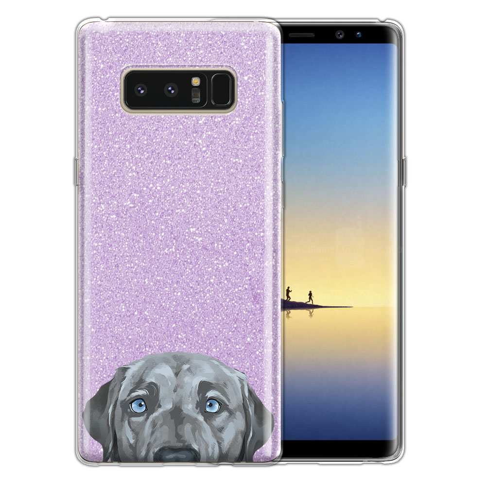 Hybrid Purple Glitter Clear Fusion Silver Blue Labrador Retriever Dog Protector Cover Case for Samsung Galaxy Note 8 Note8 N950 6.3