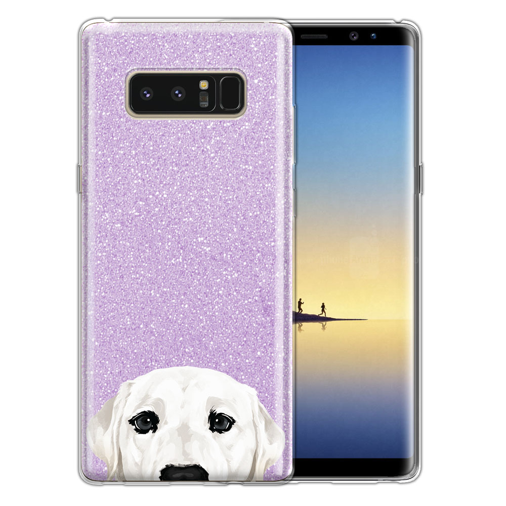 Hybrid Purple Glitter Clear Fusion White Labrador Retriever Dog Protector Cover Case for Samsung Galaxy Note 8 Note8 N950 6.3
