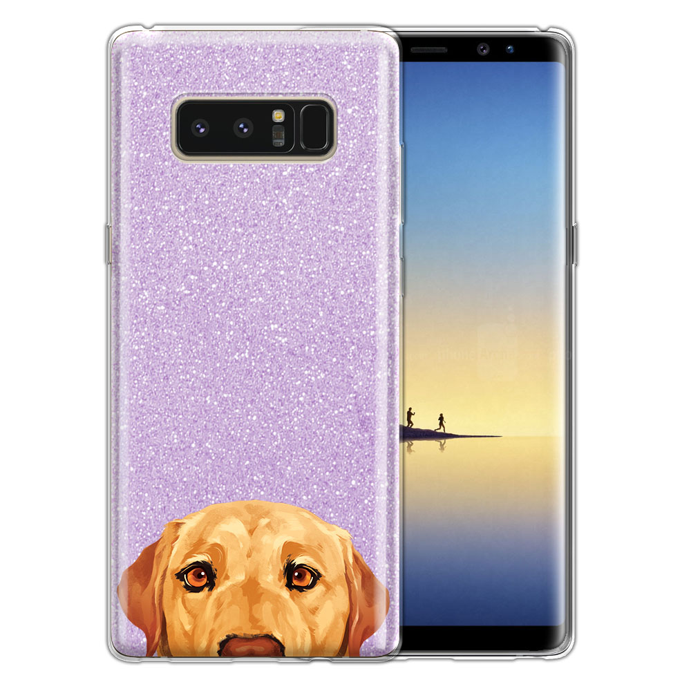Hybrid Purple Glitter Clear Fusion Yellow Labrador Retriever Dog Protector Cover Case for Samsung Galaxy Note 8 Note8 N950 6.3