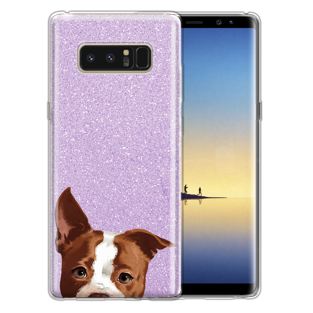 Hybrid Purple Glitter Clear Fusion Clear Brown American Pit Bull Puppy Dog Protector Cover Case for Samsung Galaxy Note 8 Note8 N950 6.3