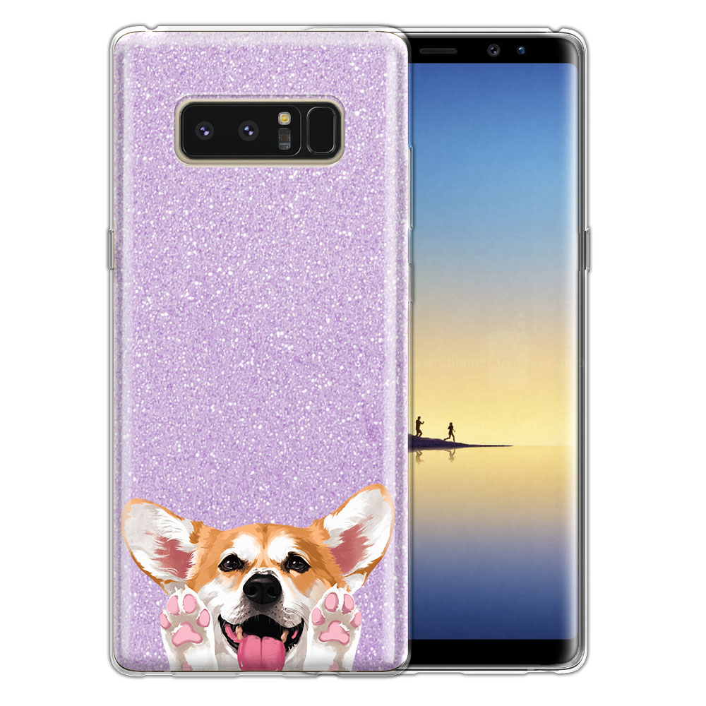 Hybrid Purple Glitter Clear Fusion Clear Red Pembroke Welsh Corgi Protector Cover Case for Samsung Galaxy Note 8 Note8 N950 6.3