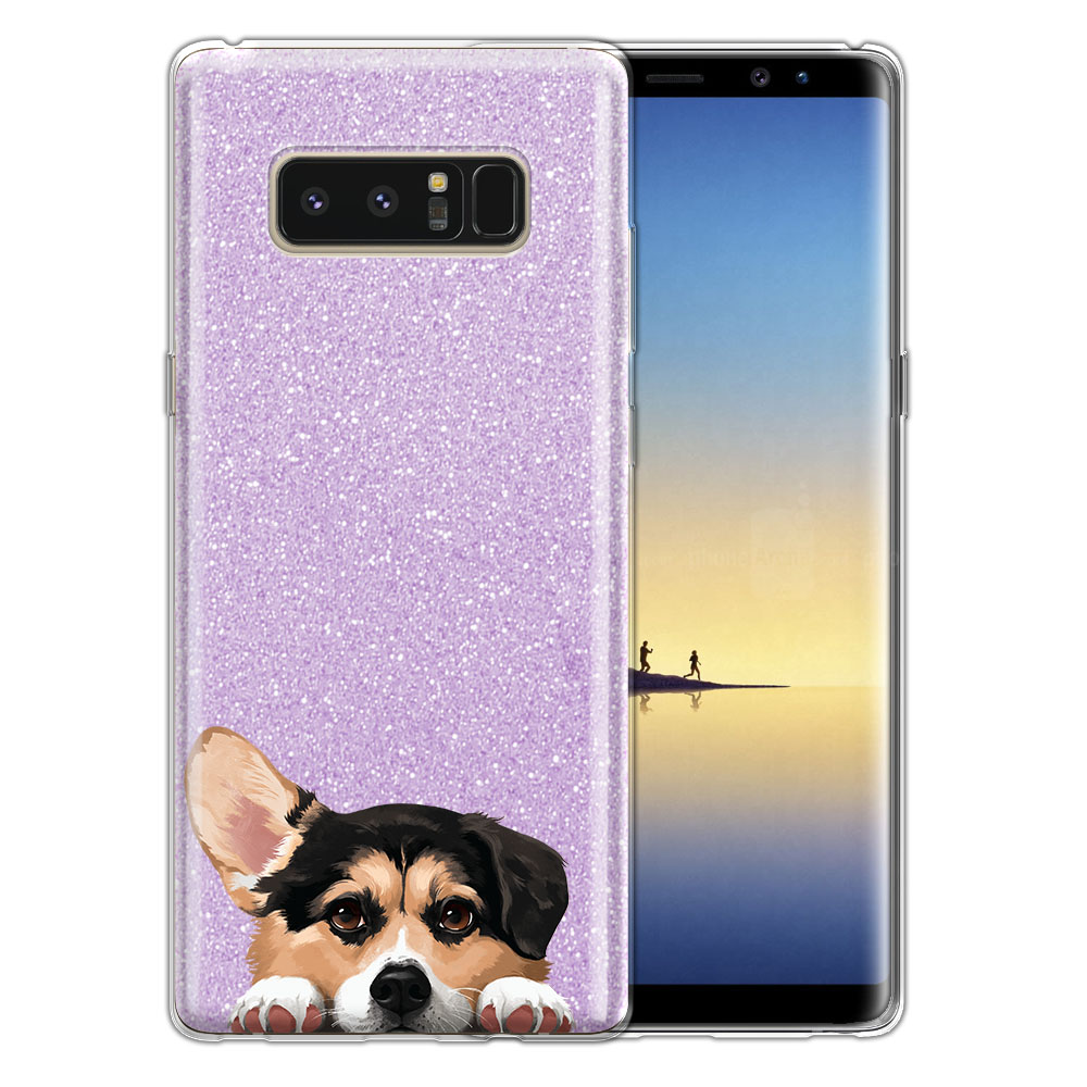 Hybrid Purple Glitter Clear Fusion Clear Tricolor Pembroke Welsh Corgi Protector Cover Case for Samsung Galaxy Note 8 Note8 N950 6.3