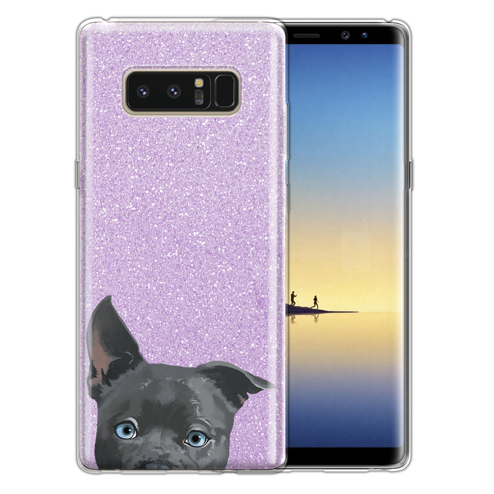 Hybrid Purple Glitter Clear Fusion Clear Silver American Pit Bull Puppy Dog Protector Cover Case for Samsung Galaxy Note 8 Note8 N950 6.3