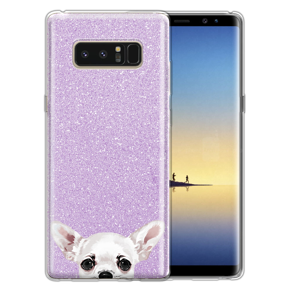 Hybrid Purple Glitter Clear Fusion Clear White Chihuahua Protector Cover Case for Samsung Galaxy Note 8 Note8 N950 6.3