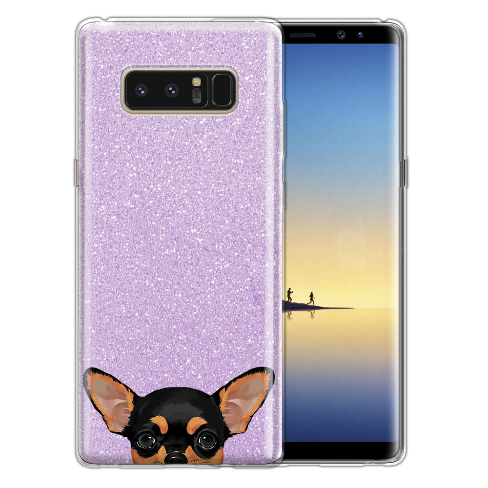 Hybrid Purple Glitter Clear Fusion Clear Black Tan Chihuahua Protector Cover Case for Samsung Galaxy Note 8 Note8 N950 6.3