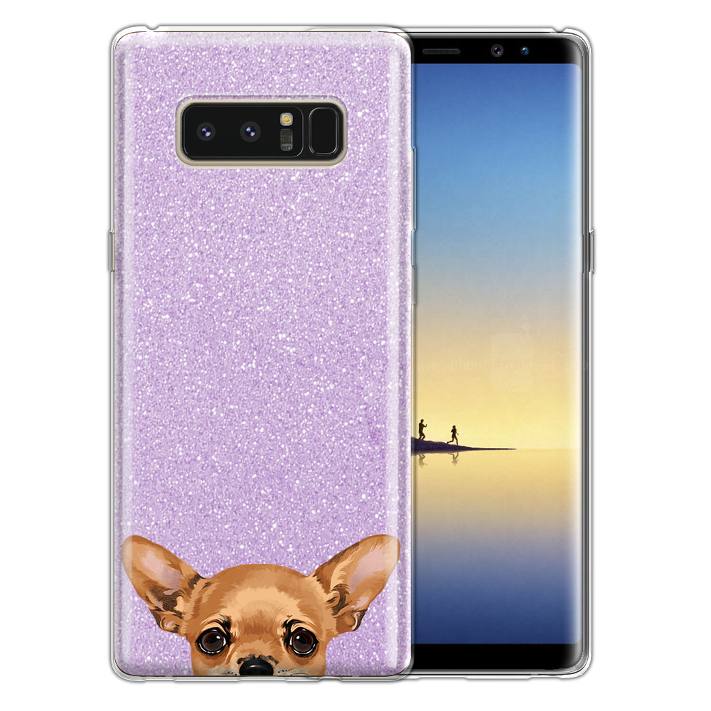 Hybrid Purple Glitter Clear Fusion Clear Fawn Apple Head Chihuahua Protector Cover Case for Samsung Galaxy Note 8 Note8 N950 6.3