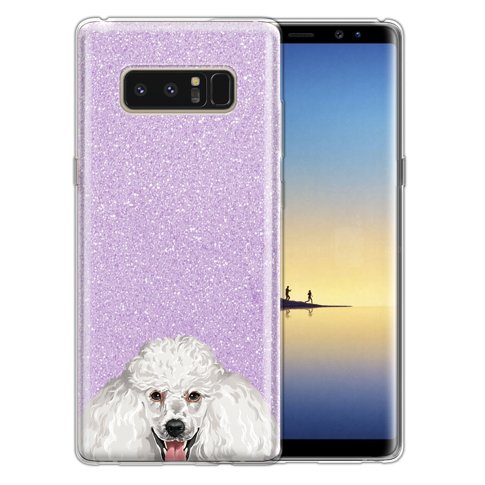 Hybrid Purple Glitter Clear Fusion Clear White Standard Poodle Protector Cover Case for Samsung Galaxy Note 8 Note8 N950 6.3