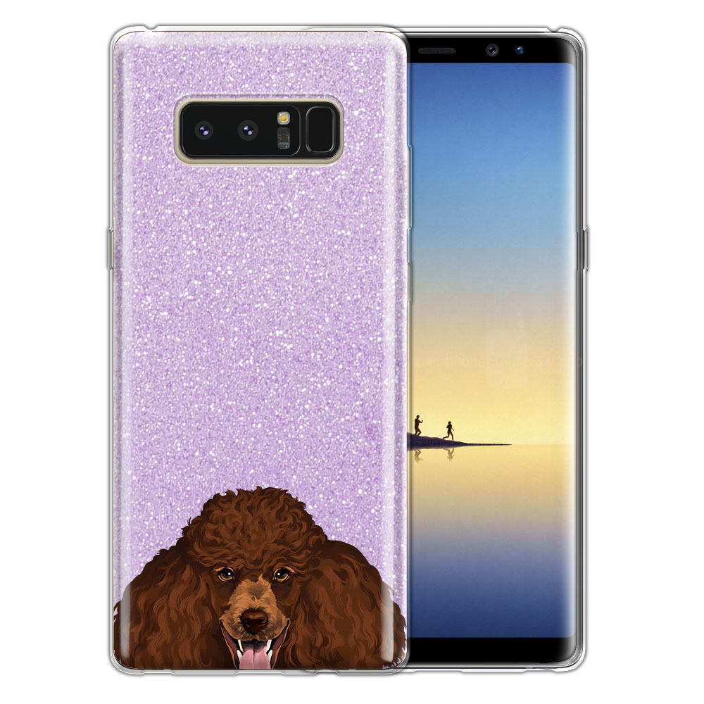 Hybrid Purple Glitter Clear Fusion Clear Brown Standard Poodle Protector Cover Case for Samsung Galaxy Note 8 Note8 N950 6.3
