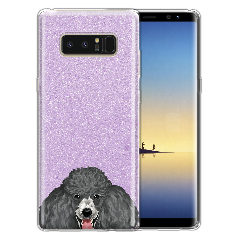 Hybrid Purple Glitter Clear Fusion Clear Grey Standard Poodle Protector Cover Case for Samsung Galaxy Note 8 Note8 N950 6.3