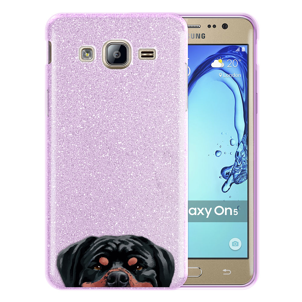 Hybrid Purple Glitter Clear Fusion Black Tan Rottweiler Dog Protector Cover Case for Samsung Galaxy On5 G550 G500