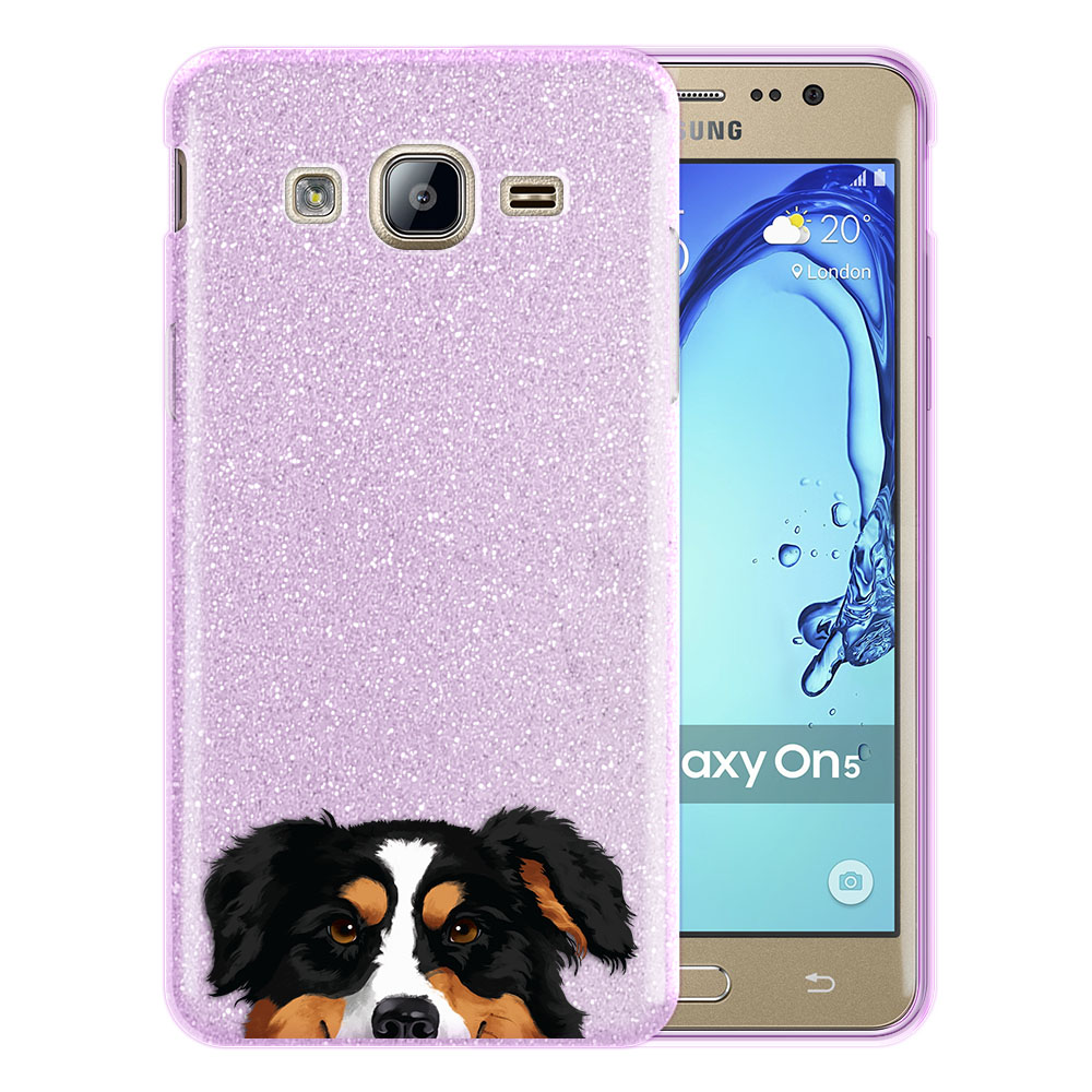 Hybrid Purple Glitter Clear Fusion Black Tricolor Aussie Australian Shepherd Dog Protector Cover Case for Samsung Galaxy On5 G550 G500