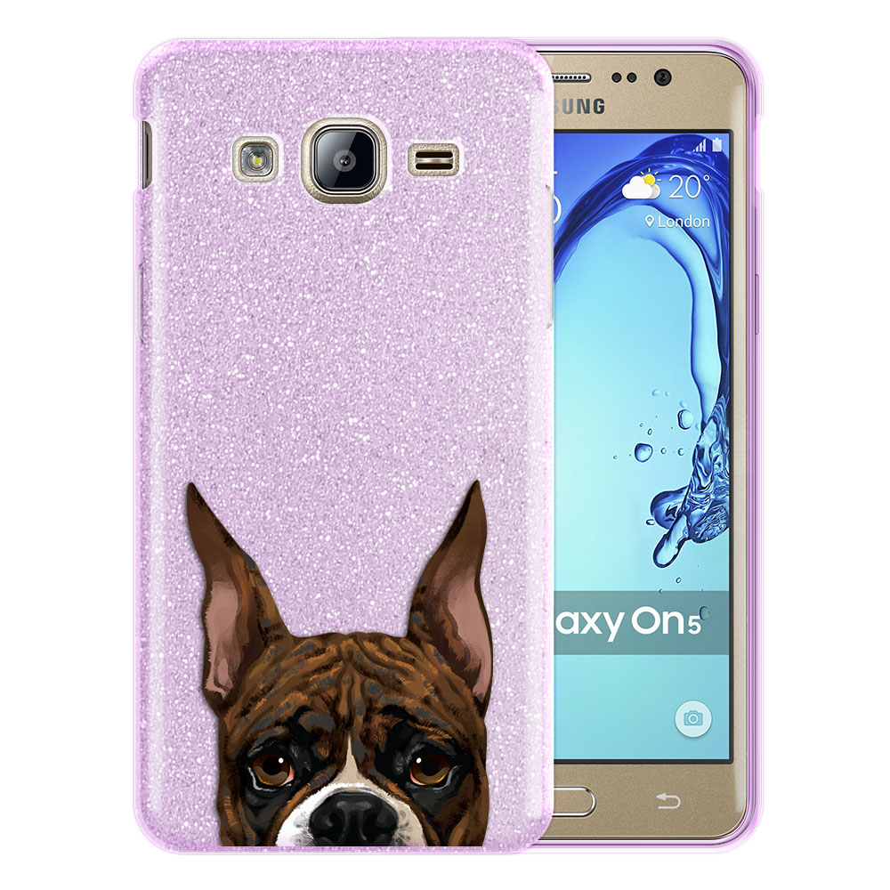 Hybrid Purple Glitter Clear Fusion Brindle Pattern Boxer Dog Protector Cover Case for Samsung Galaxy On5 G550 G500