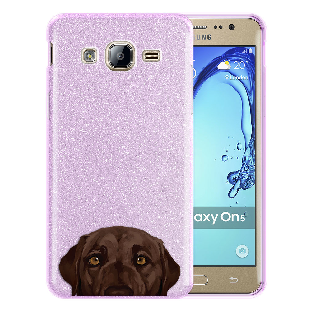 Hybrid Purple Glitter Clear Fusion Chocolate Brown Labrador Retriever Dog Protector Cover Case for Samsung Galaxy On5 G550 G500